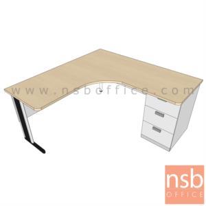 A18A046:โต๊ะทำงานตัวแอลหน้าโค้งเว้า 3 ลิ้นชัก รุ่น VCP-L1 ขนาด 150W. 160W, 180W cm.