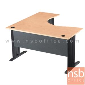 A10A005:โต๊ะทำงานตัวแอลหน้าโค้งเว้า  รุ่น S-DK-62121  ขนาด 120W1*120W2 cm. ขาเหล็กตัวแอลพ่นดำ