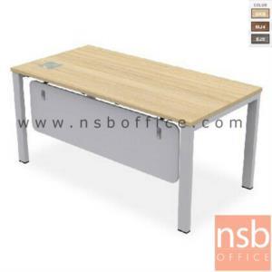 A10A030:โต๊ะผู้บริหารทรงสี่เหลี่ยม รุ่น TY-160 ขนาด 160W cm. พร้อมป๊อบอัพ ขาเหล็กสีเทา