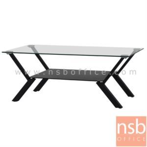B13A223:โต๊ะกลางกระจก  รุ่น HIBISCUS-FI ขนาด 100W cm. โครงเหล็กพ่นสี
