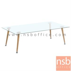 B13A232:โต๊ะกลางกระจก 110W*59.50D*36H cm. รุ่น SR-CGT209 ขนาด 110W cm. ขาเหล็กแลปปิ้ง
