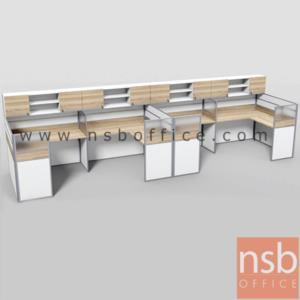 A04A176:ชุดโต๊ะทำงานกลุ่มตัวแอล 4 ที่นั่ง   รุ่น SR-L114  ขนาดรวม 610W1*154W2 cm. พร้อมตู้แขวนเก็บเอกสาร