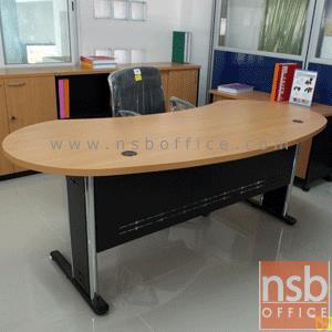 A06A004:โต๊ะผู้บริหารทรงรูปถั่ว  รุ่น TY-2009 ขนาด 200W cm. พร้อมบังตาเหล็ก ขาเหล็กตัวแอล