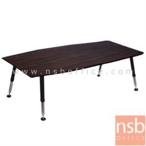 A05A171:โต๊ะประชุมทรงเรือ  รุ่น BH-FC0820 ขนาด 200W cm.  ขาเหล็กปลายเรียวสีดำตัดกับโครเมี่ยม