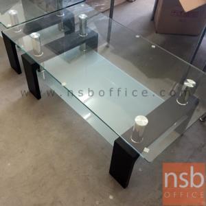B13A193:โต๊ะกลางกระจก รุ่น GHO-SEOUL BLACK ขนาด 110W cm. ขาไม้
