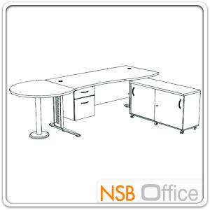 โต๊ะผู้บริหารตัวแอล  รุ่น SR-SET4  ขนาด 300W cm. ขาเหล็กโครเมี่ยมดำ สีเชอร์รี่-ดำ *แอลตามภาพเท่านั้น*
