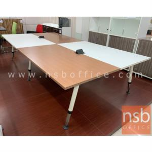 A22A007:โต๊ะประชุมทรงสี่เหลี่ยม 12 ที่นั่ง  รุ่น TY-FC40-6123 ขนาด 320W cm. พร้อมฝาเปิดปิดปลั๊กไฟบนโต๊ะ ขาเหล็ก