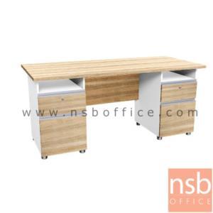 A21A003:โต๊ะทำงาน 4 ลิ้นชัก  รุ่น SR-NK1820  ขนาด 180W cm. เมลามีน สีเนเจอร์ทีค-ขาว