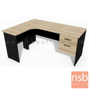 A16A081:โต๊ะทำงานตัวแอลหน้าโค้งเว้า รุ่น CASCAIS (กัชไกช์) ขนาด 160W cm. เมลามีน