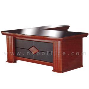 A06A085:โต๊ะบริหารตัวแอลหน้ากระจก  รุ่น Murphy (เมอร์ฟี) ขนาด 200W cm. พร้อมตู้ข้างและตู้ลิ้นชัก