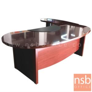 L10A232:โต๊ะผู้บริหารตัวแอลคลาสสิค   ขนาด 240W*206D*75H cm.  มีแผ่นรองเขียน พร้อมโต๊ะข้าง