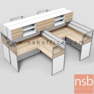 A04A180:ชุดโต๊ะทำงานกลุ่มตัวแอล 4 ที่นั่ง  รุ่น SR-L314  ขนาดรวม 306W1*306W2 cm. พร้อมตู้แขวนเก็บเอกสาร