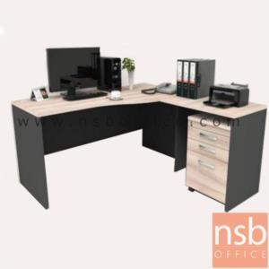 A16A063:โต๊ะผู้บริหารตัวแอลหน้าโค้งเว้า  รุ่น Vincen (วินเซน) ขนาด 160W1*160W2 cm. พร้อมตู้ลิ้นชักแฟ้มแขวน