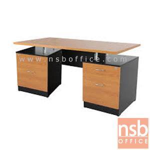 A13A015:โต๊ะผู้บริหารทรงสี่เหลี่ยม 4 ลิ้นชัก  รุ่น DM-500  ขนาด 150W cm. เมลามีน สีเชอร์รี่ดำ
