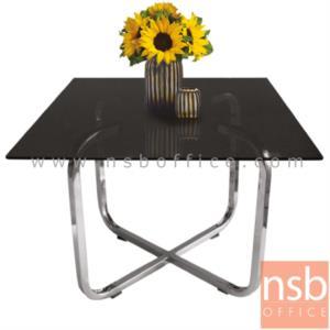 B13A057:โต๊ะกลางกระจกสีชา  รุ่น KT-CAN ขนาด 60W cm. โครงขาเหล็กชุบโครเมี่ยม