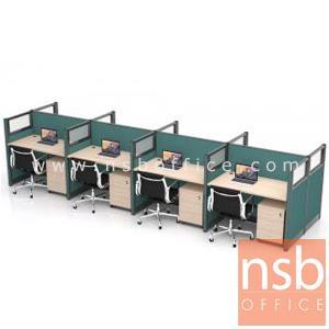 A27A046:โต๊ะทำงานกลุ่ม 8 ที่นั่ง รุ่น Landon (แลนดอน)  พร้อมพาร์ทิชั่นกระจกขัดลาย และตู้ลิ้นชัก