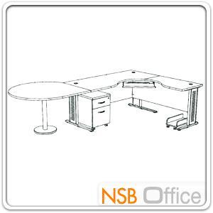 โต๊ะผู้บริหารตัวแอลหน้าโค้งเว้า  รุ่น SR-SET5   ขนาด 300W1*180W2 cm. ขาเหล็กโครเมี่ยมดำ สีเชอร์รี่-ดำ *แอลตามภาพเท่านั้น*