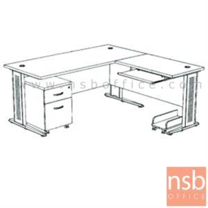 A13A029:โต๊ะผู้บริหารตัวแอล  รุ่น SR-SET2  ขนาด 180W1*180W2 cm. ขาเหล็กโครเมี่ยมดำ สีเชอร์รี่ดำ