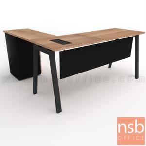โต๊ะทำงานตัวแอล รุ่น Slash-3 (สแลช-3) ขนาด 150W, 180W*60D, 80D cm. พร้อมตู้ลิ้นชักข้าง ขาเหล็ก
