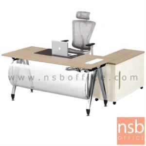 A30A028:โต๊ะผู้บริหาร ขาตัวเอปลายแหลม พร้อมตู้ข้าง รุ่น G2050 ขนาด 160W พร้อมบังตาโค้งสีเงิน