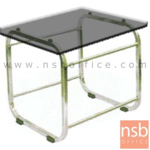 B13A005:โต๊ะกลางกระจกสีชา  รุ่น B2121 ขนาด 60W cm. โครงเหล็กเหลี่ยม