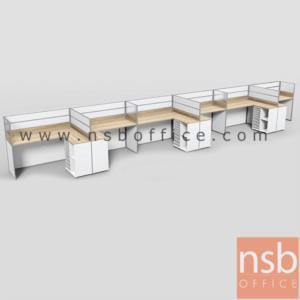 A04A183:ชุดโต๊ะทำงานกลุ่มตัวแอล 6 ที่นั่ง  รุ่น SR-L423  ขนาดรวม 914W1*122W2 cm. พร้อมตู้ข้างเอกสาร
