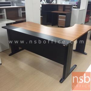 A10A008:โต๊ะทำงานตัวแอลหน้าโค้งเว้า  รุ่น S-DK-84161  ขนาด 160W1*140W2 cm. ขาเหล็กดำ สีเชอร์รี่-ดำ
