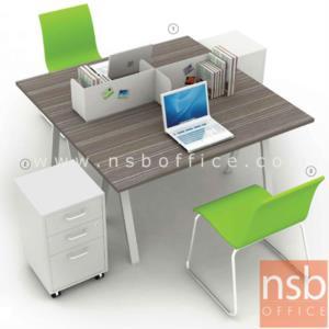 A23A001:ชุดโต๊ะทำงานกลุ่ม 2 ที่นั่ง  รุ่น A-LEG ขนาด 150W cm. พร้อมมินิสกรีน