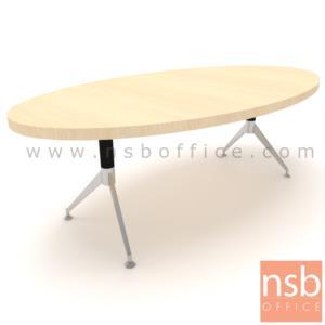 A05A165:โต๊ะประชุมทรงวงรี ขนาด 200W cm.   ขาเหล็กทรงหางปลา