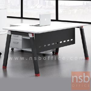 A30A024:โต๊ะผู้บริหารตัวแอล พร้อมตู้ข้าง รุ่น J-G262 ขนาด 180W cm. ขาเหล็กเหลี่ยมใหญ่ทำสีดำ