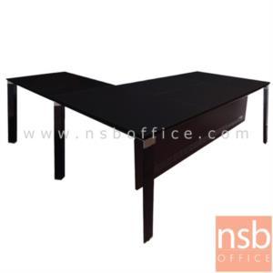 A30A012:โต๊ะผู้บริหารตัวแอล งานหุ้มหนังเทียม รุ่น TY-1818 ขนาด 180W cm.  พร้อมบังตาเหล็ก