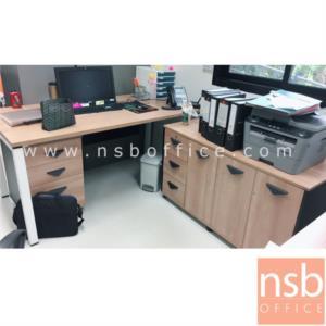 A10A057:ชุดโต๊ะทำงาน 3 ลิ้นชัก ขนาด 160W*75H cm. พร้อมตู้ข้างเก็บเอกสาร รุ่น BT-601  ขาเหล็ก