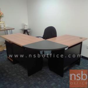 โต๊ะผู้บริหารตัวแอลหัวโค้ง 1 ลิ้นชัก 1 บานเปิด รุ่น SR-YARN  ขนาด 180W1*140W2 cm.  เมลามีน สีเชอร์รี่ดำ