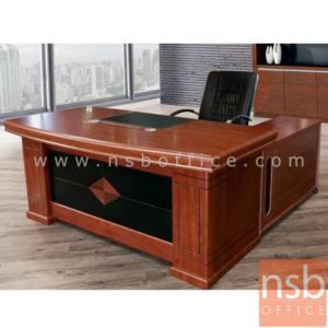 A06A127:ชุดโต๊ะผู้บริหารตัวแอล รุ่น NANO (นาโน) ขนาด 180W , 200W cm.  พร้อมตู้ข้างและตู้ลิ้นชัก