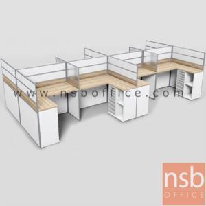 A04A187:ชุดโต๊ะทำงานกลุ่มตัวแอล 8 ที่นั่ง  รุ่น SR-L218 ขนาดรวม 610W1*242W2 cm. พร้อมตู้ข้างเอกสาร
