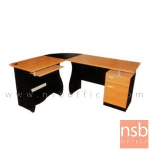 A16A039:โต๊ะผู้บริหารตัวแอลหัวโค้ง 1 ลิ้นชัก 1 บานเปิด รุ่น SR-YARN  ขนาด 180W1*140W2 cm.  เมลามีน สีเชอร์รี่ดำ