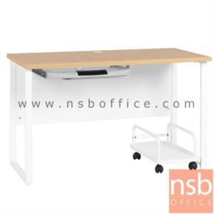 A10A027:โต๊ะทำงาน ขนาด 120W*75H cm. พร้อมรางคีย์บอร์ดและที่วางซีพียูล้อเลื่อน รุ่น MALA SET  ขาเหล็ก