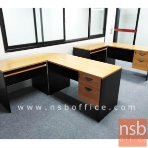 โต๊ะทำงานตัวแอลมุมโค้ง 2 ลิ้นชัก รุ่น Timberlake (ทิมเบอร์เลก) ขนาด 180W1*140W2 cm. เมลามีน