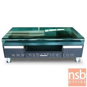 B13A077:โต๊ะกลางกระจก  รุ่น ANYA ขนาด 120W cm. โครงเหล็กชุบโครเมี่ยม
