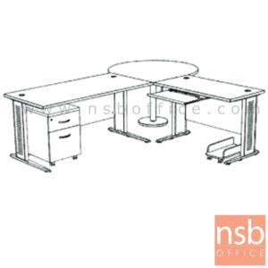 A13A030:โต๊ะผู้บริหารตัวแอล  รุ่น SR-SET3  ขนาด 280W1*240W2 cm. ขาเหล็กโครเมี่ยมดำ สีเชอร์รี่-ดำ *แอลตามภาพเท่านั้น*