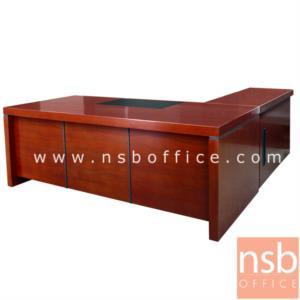 A06A117:โต๊ะผู้บริหารตัวแอล  รุ่น D-IT  ขนาด 200W cm. พร้อมตู้ลิ้นชักและตู้ข้าง