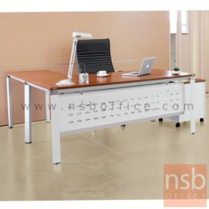 โต๊ะทำงานตัวแอล  รุ่น HB-EX2DR1818 ขนาด 180W1*180W2 cm. พร้อมบังโป้เหล็กรู ขาเหล็ก