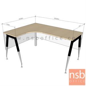A16A080:โต๊ะทำงานตัวแอลหน้าโค้งเว้า   ขนาด 150W1*120W2 ,150W1*150W2 cm. ขาปลายเรียว