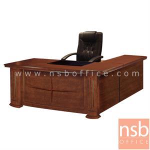 A06A043:โต๊ะผู้บริหารตัวแอล  รุ่น Air ขนาด 180W cm. พร้อมตู้ลิ้นชักและโต๊ะต่อข้าง