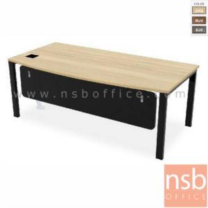 A10A032:โต๊ะผู้บริหารทรงสี่เหลี่ยม รุ่น TY-2010 ขนาด 200W cm. พร้อมป๊อบอัพ ขาเหล็กสีดำ