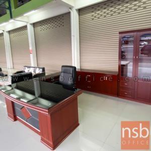 โต๊ะผู้บริหารตัวแอลหน้ากระจกสีชา รุ่น Ramiro (รามิโร่) ขนาด 160W ,180W cm.  พร้อมตู้ลิ้นชักและตู้ข้าง
