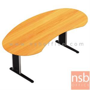 A06A103:โต๊ะผู้บริหารทรงรูปถั่ว   ขนาด 200W cm.  พร้อมบังตาไม้ ขาเหล็กตัวแอล