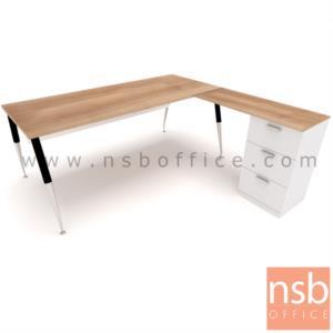 A16A078:โต๊ะทำงานตัวแอล 3 ลิ้นชัก   ขนาด 180W1*175W2 cm. พร้อมบังตาไม้ ขาเหล็กชุบโครเมี่ยม
