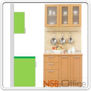 ชุดตู้ครัวหน้าเรียบ 100W cm. รุ่น STEP-001  พร้อมตู้แขวนลอย