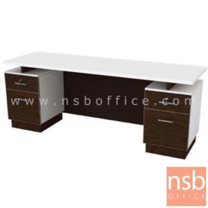 A15A007:โต๊ะทำงาน 4 ลิ้นชัก  รุ่น SR-1822 ขนาด 180W cm. เมลามีน สีเวงเก้-ขาว